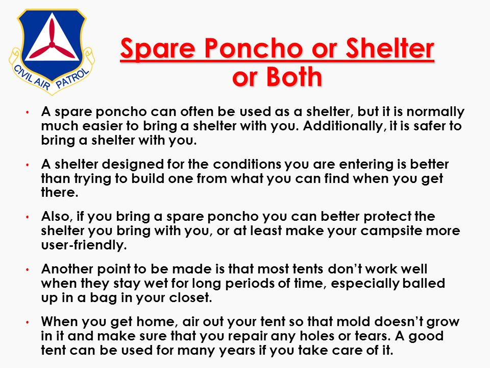 Spare Poncho or Shelter or Both