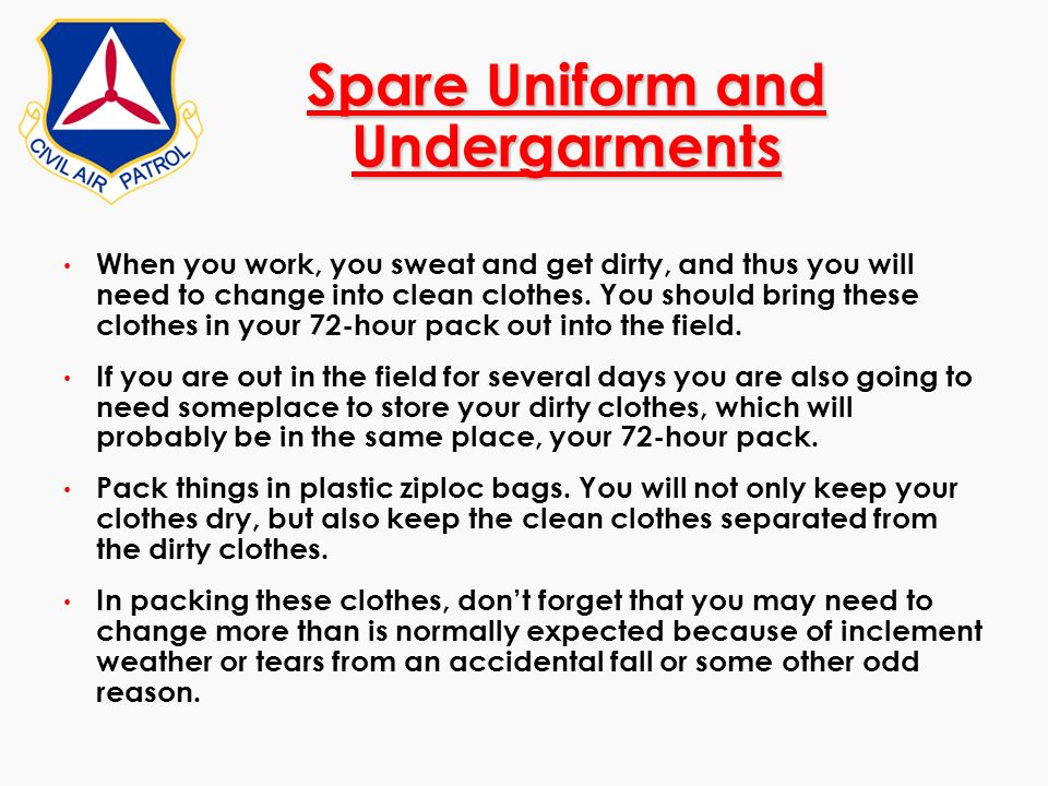Spare Uniform and Undergarments