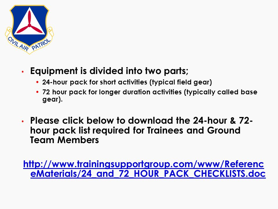 Equipment is divided into two parts;