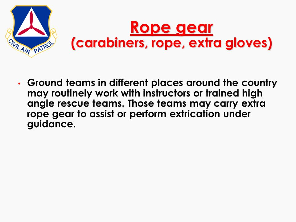 Rope gear (carabiners, rope, extra gloves)