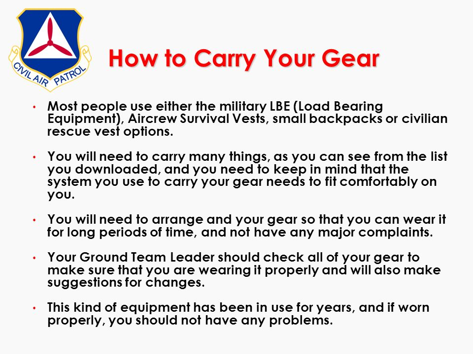 How to Carry Your Gear