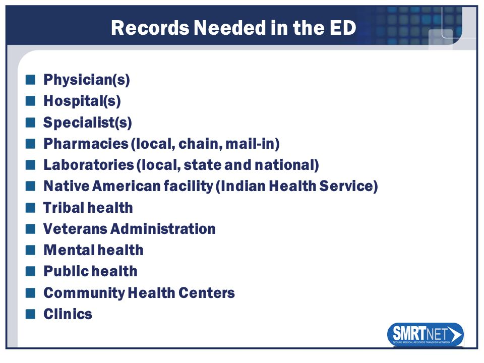 Records Needed in the ED