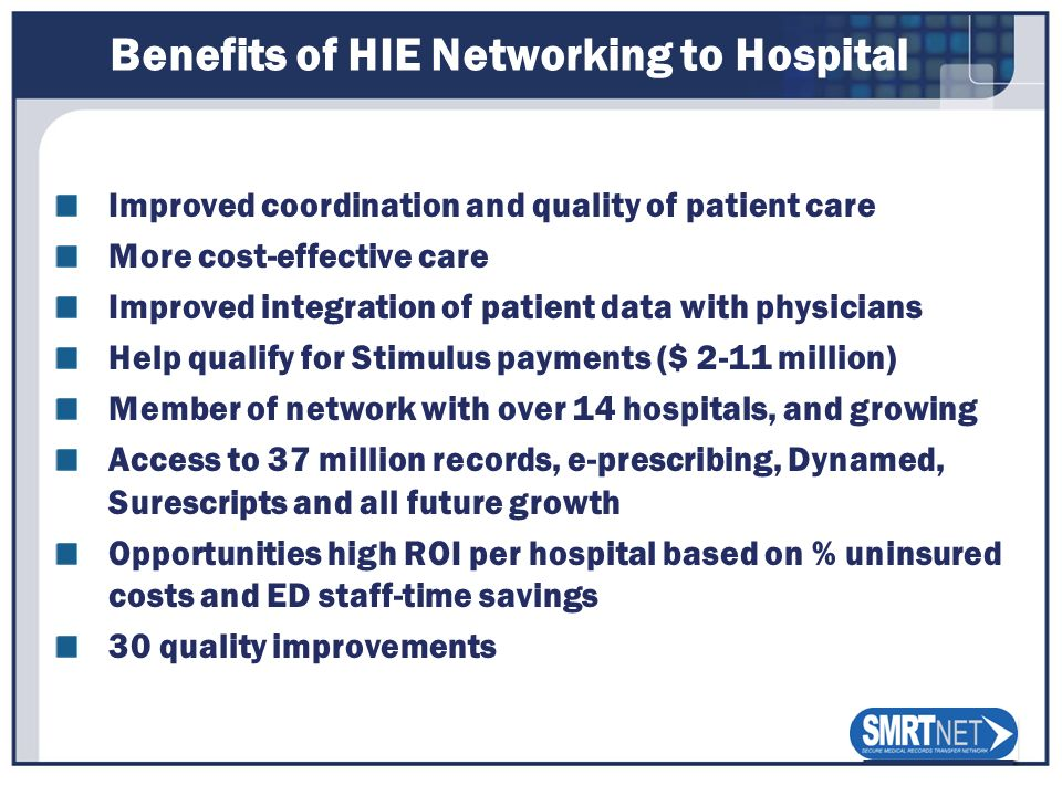 Benefits of HIE Networking to Hospital