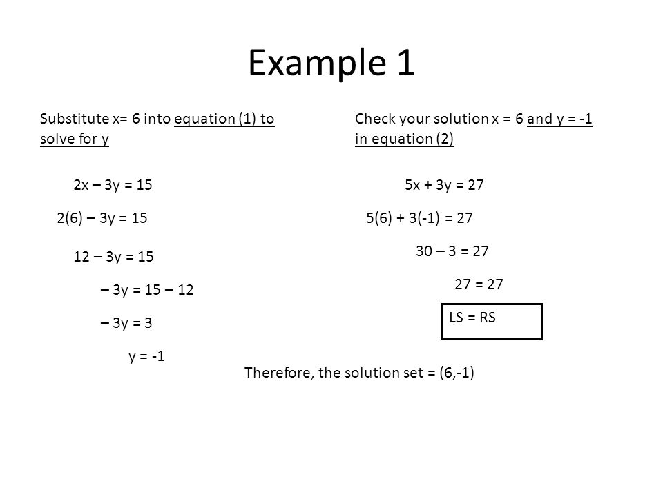 Example 1 Substitute x= 6 into equation (1) to solve for y