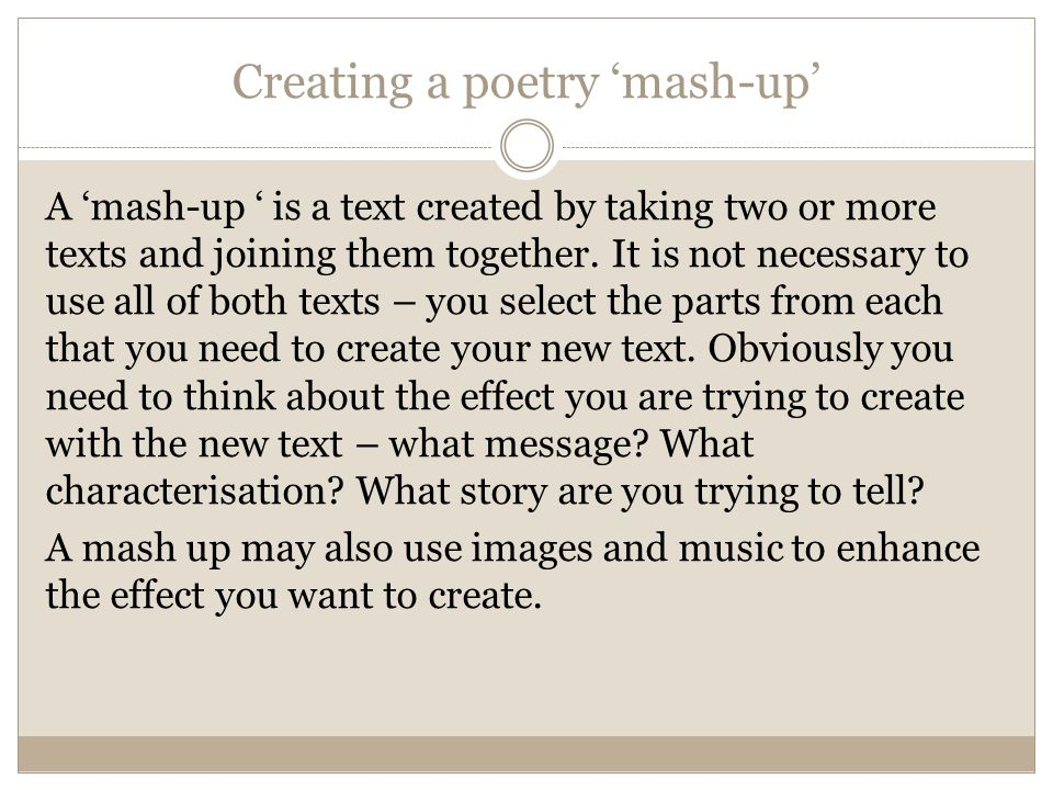Creating a poetry 'mash-up'