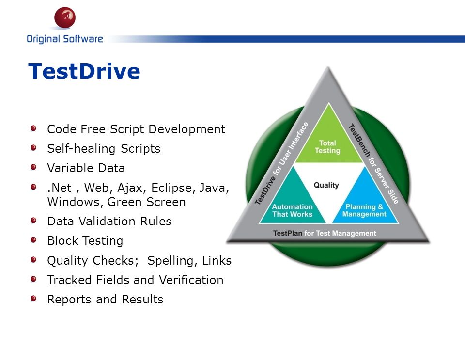 TestDrive Code Free Script Development Self-healing Scripts