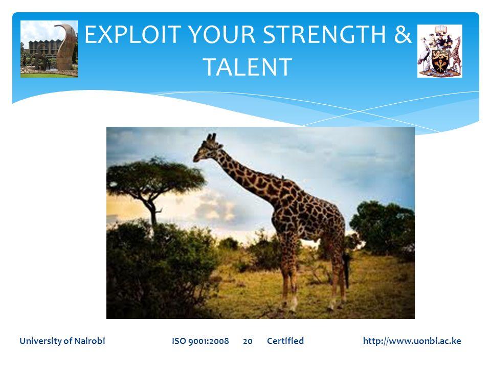 EXPLOIT YOUR STRENGTH & TALENT