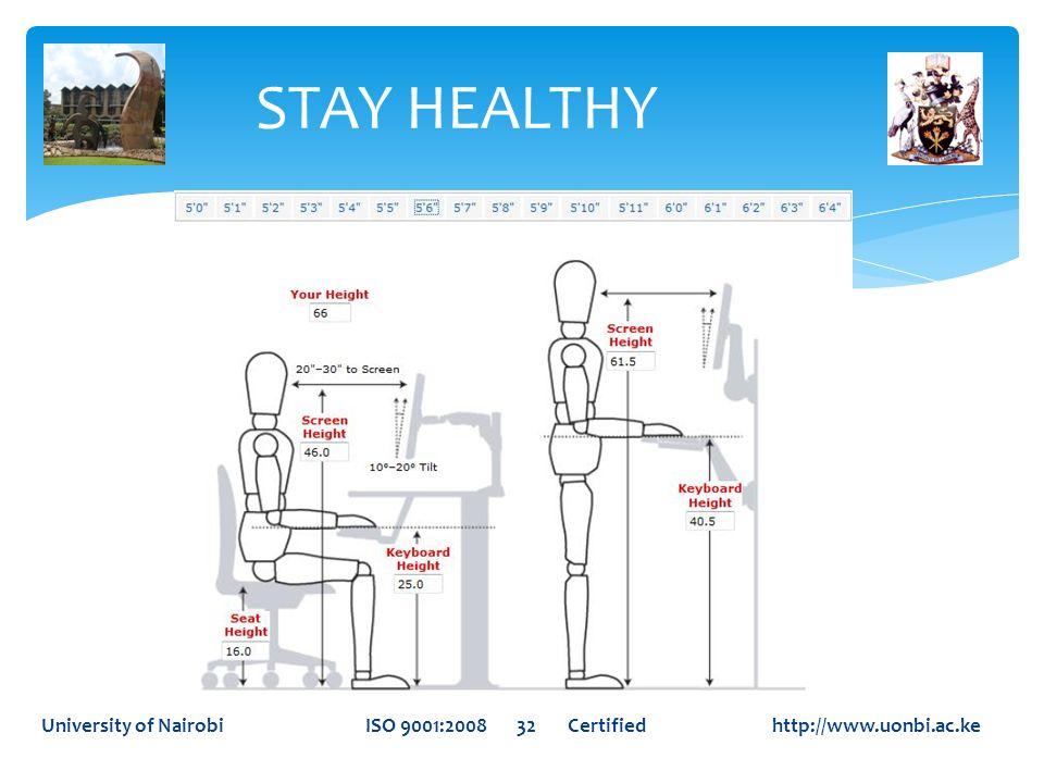 STAY HEALTHYUniversity of Nairobi ISO 9001:2008 32 Certified http://www.uonbi.ac.ke.