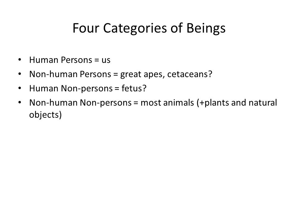 Four Categories of Beings