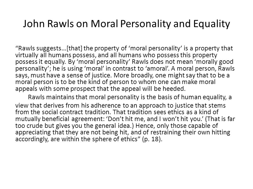 John Rawls on Moral Personality and Equality