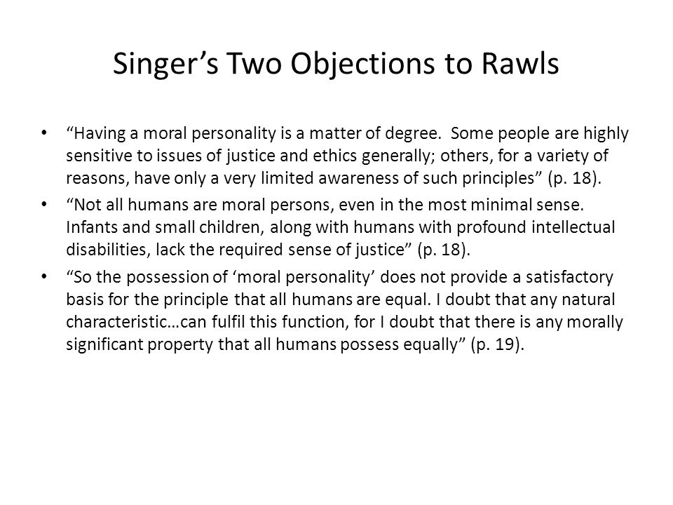 Singer's Two Objections to Rawls
