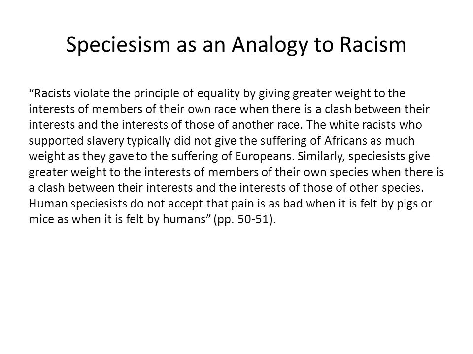 Speciesism as an Analogy to Racism