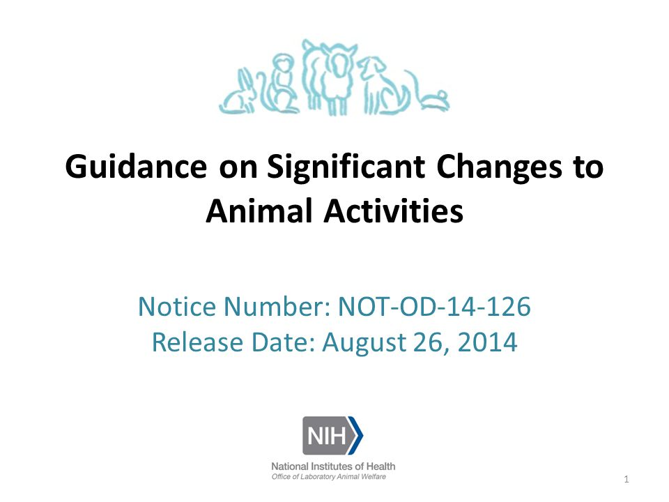 Guidance on Significant Changes to Animal Activities