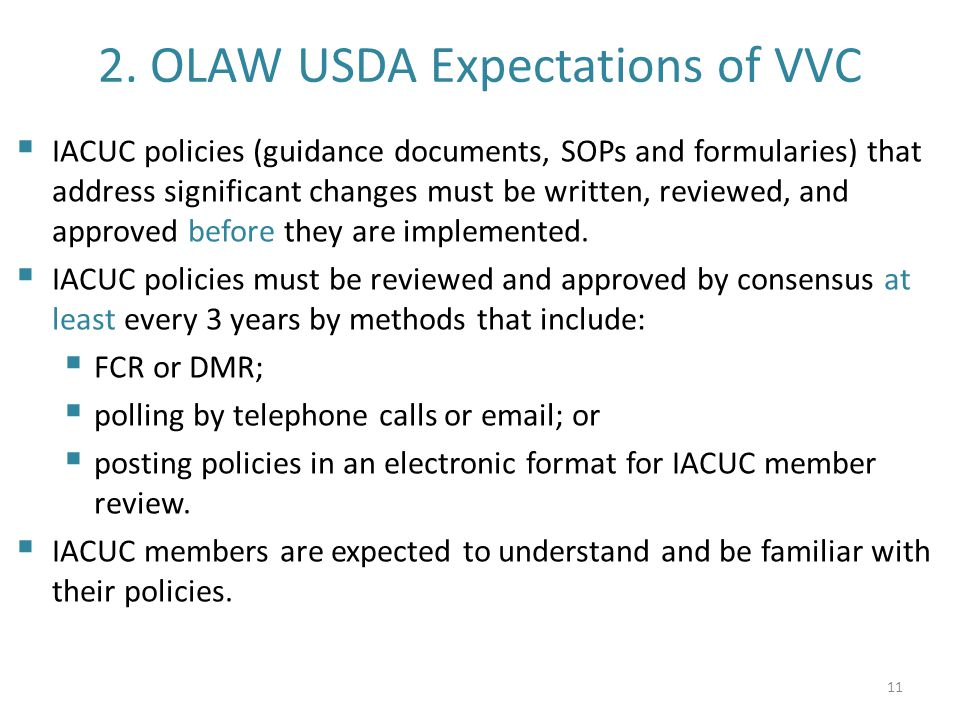 2. OLAW USDA Expectations of VVC