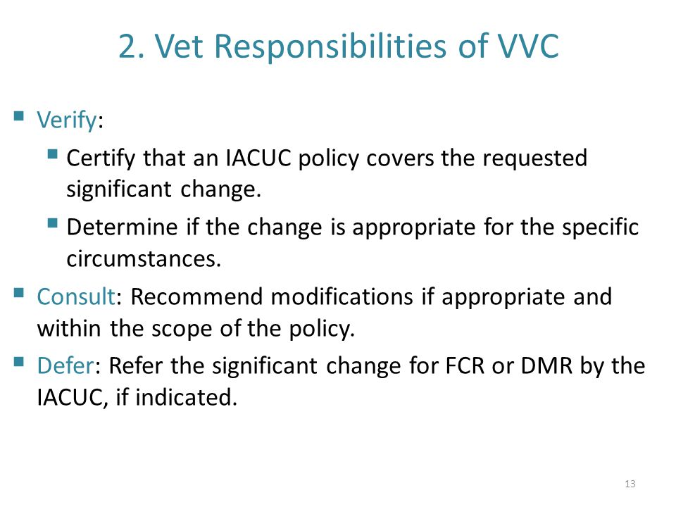 2. Vet Responsibilities of VVC