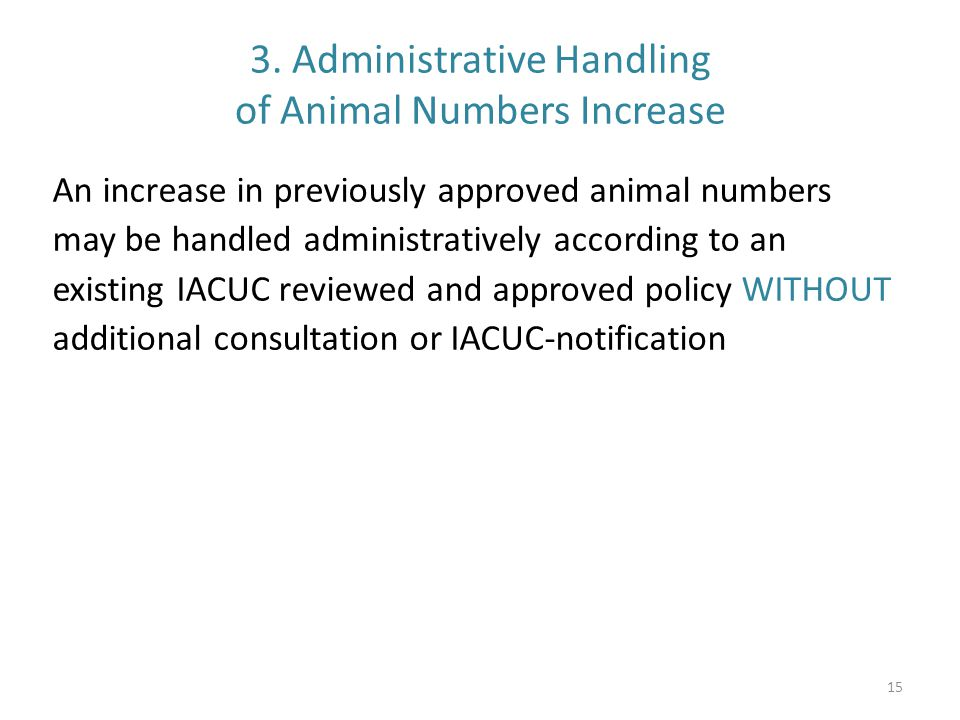 3. Administrative Handling of Animal Numbers Increase