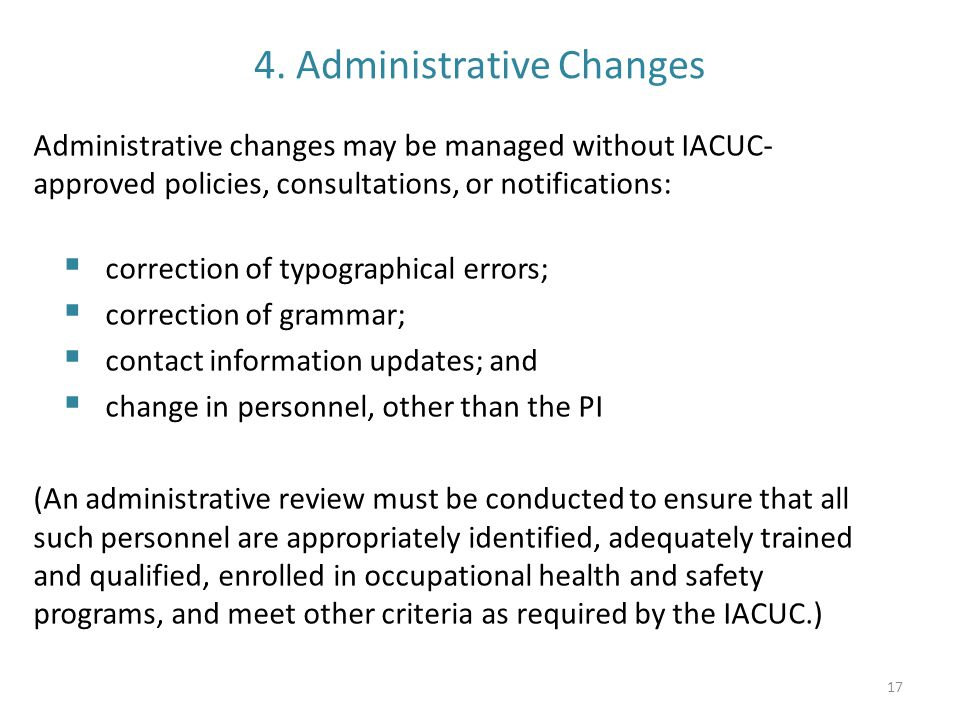 4. Administrative Changes