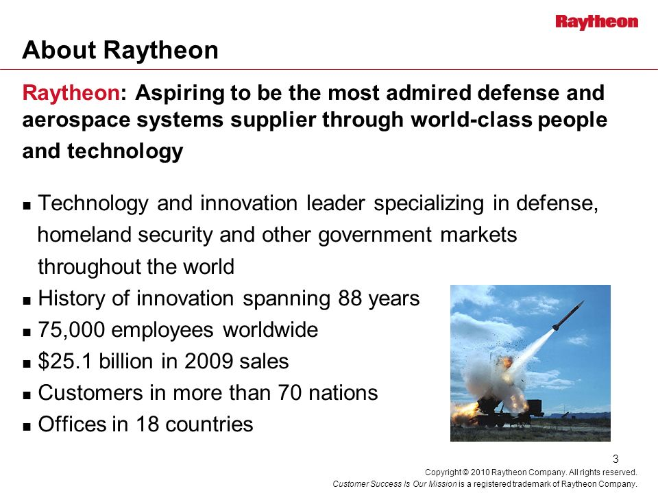 About Raytheon Raytheon: Aspiring to be the most admired defense and aerospace systems supplier through world-class people.