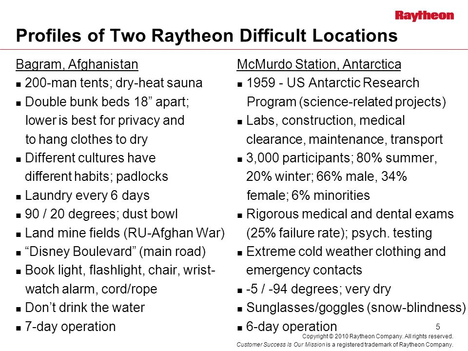 Profiles of Two Raytheon Difficult Locations
