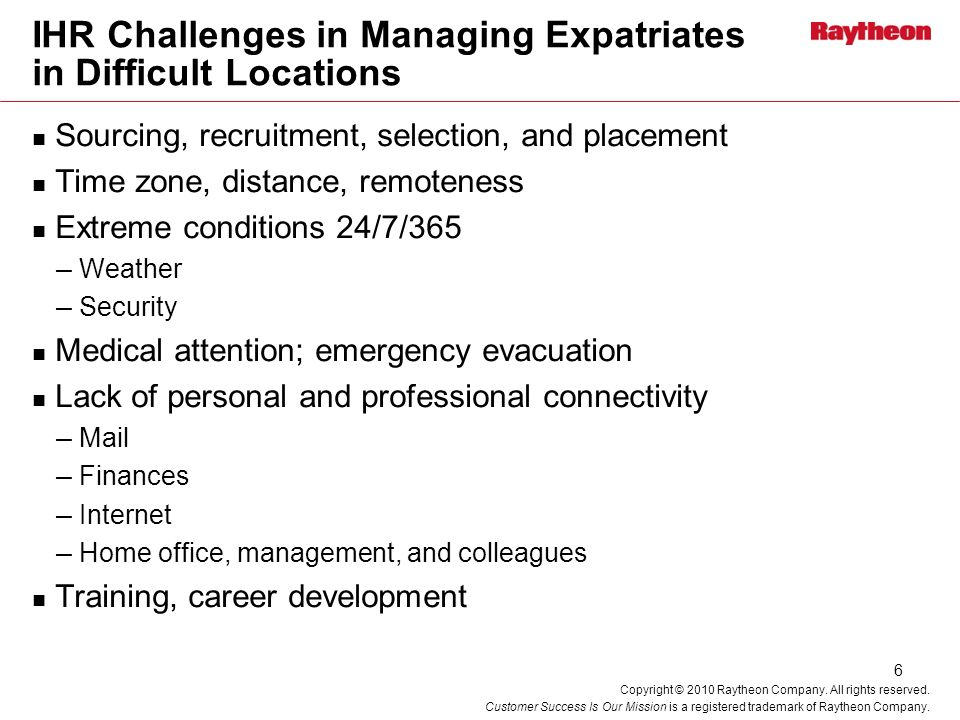 IHR Challenges in Managing Expatriates in Difficult Locations