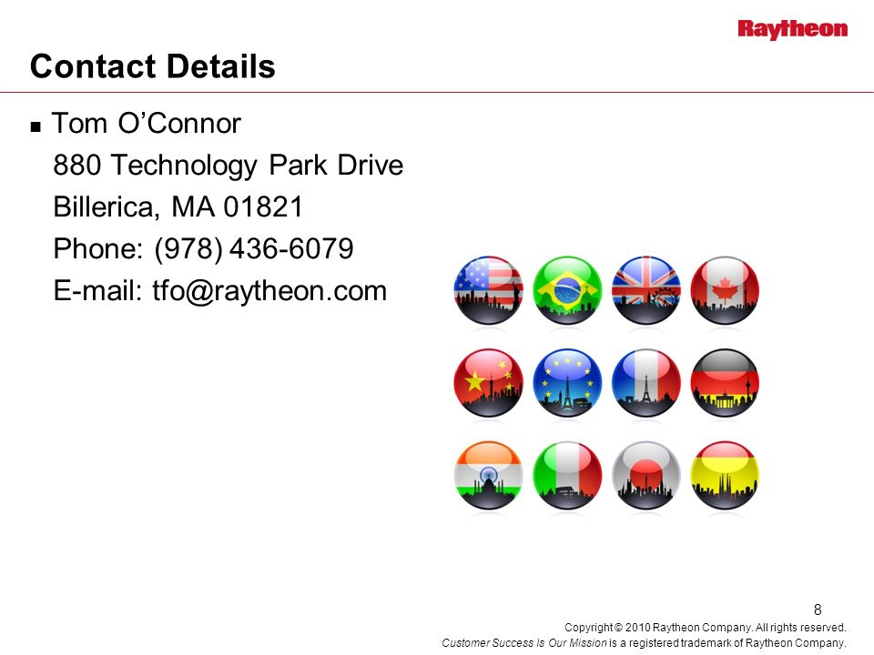 Contact Details Tom O'Connor 880 Technology Park Drive