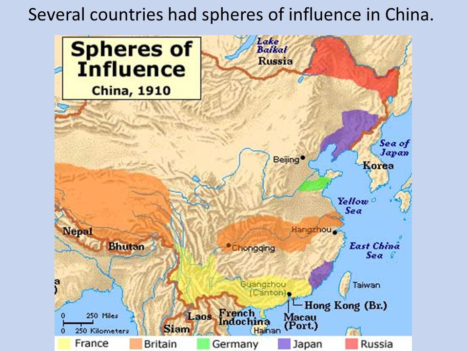 Several countries had spheres of influence in China.