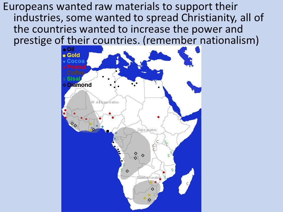 Europeans wanted raw materials to support their industries, some wanted to spread Christianity, all of the countries wanted to increase the power and prestige of their countries.