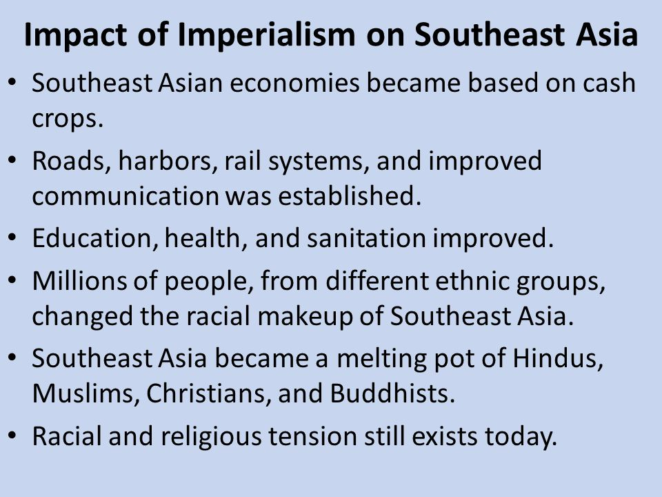 Impact of Imperialism on Southeast Asia
