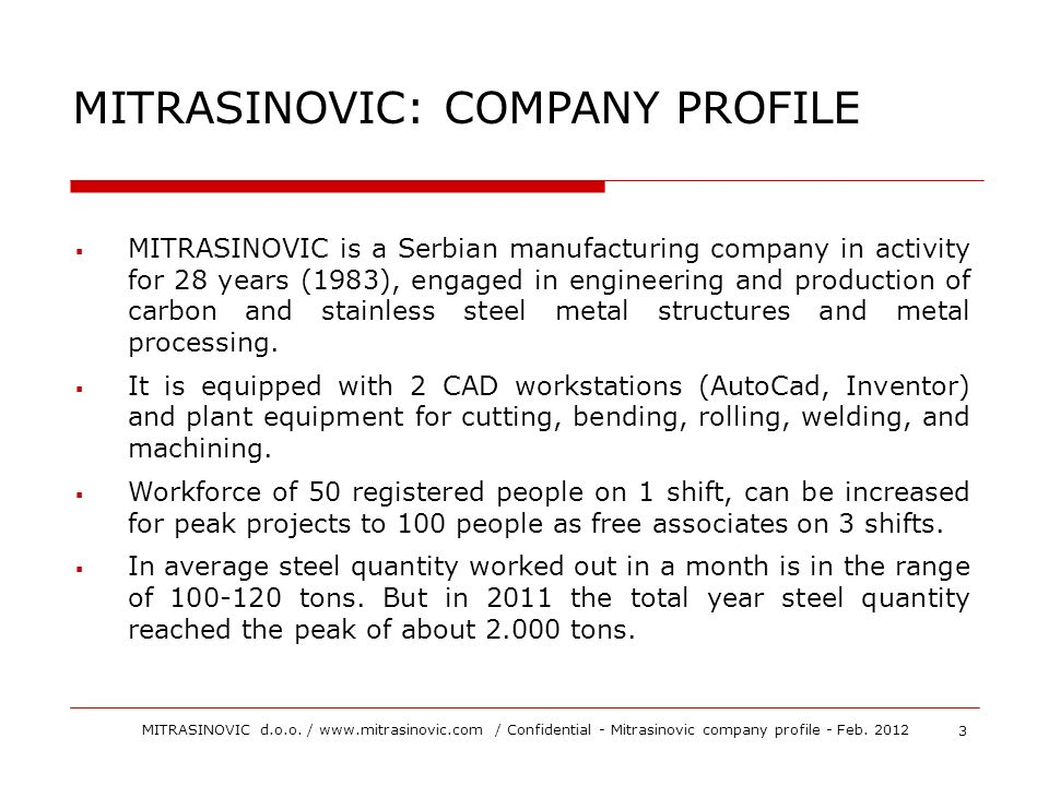 MITRASINOVIC: COMPANY PROFILE