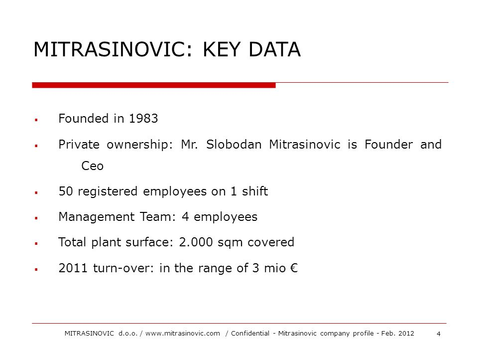 MITRASINOVIC: KEY DATA