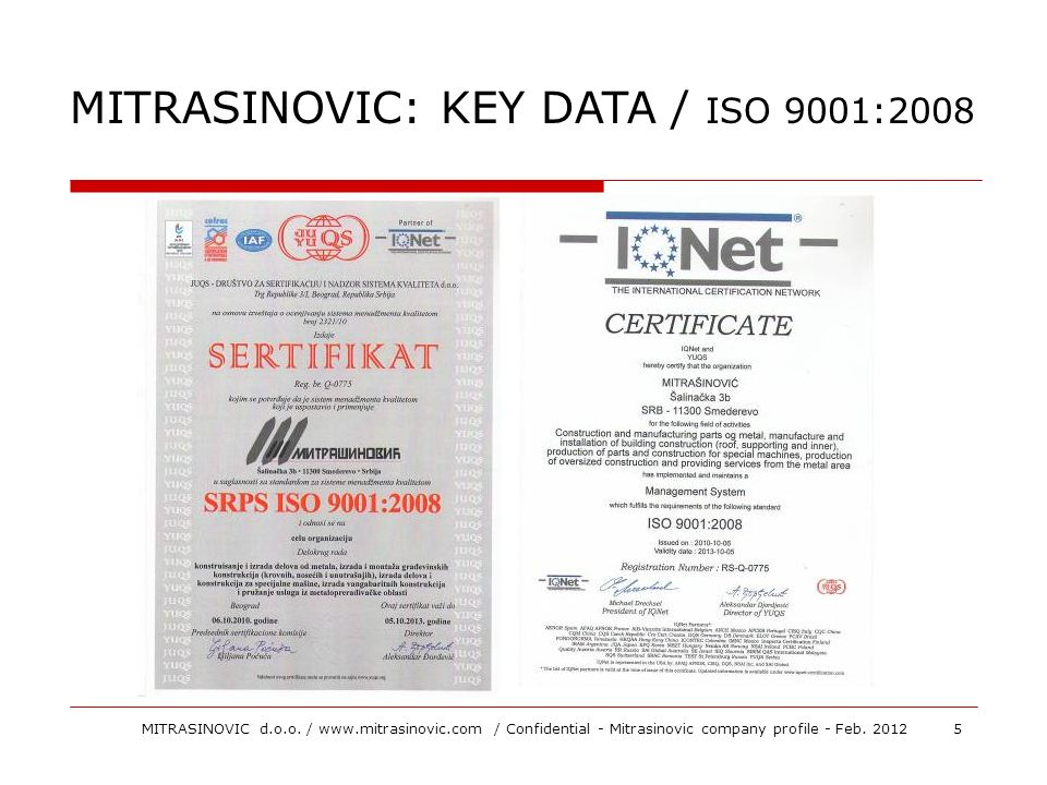 MITRASINOVIC: KEY DATA / ISO 9001:2008