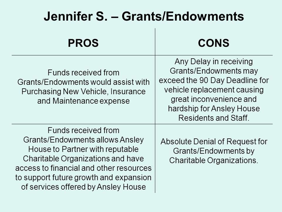 Jennifer S. – Grants/Endowments