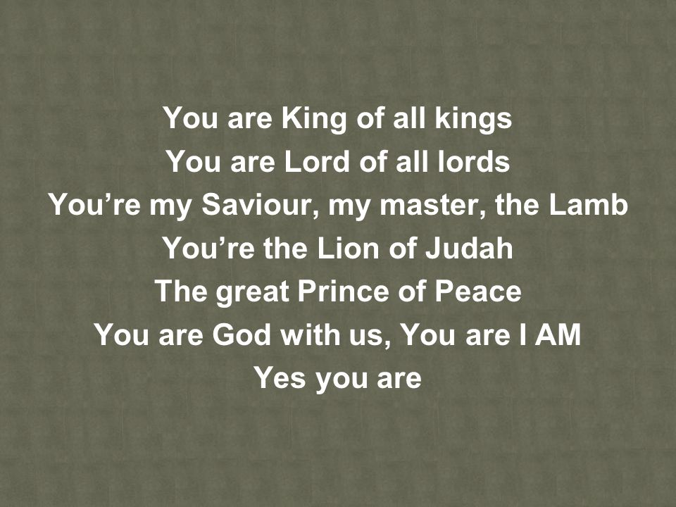 You are King of all kings You are Lord of all lords
