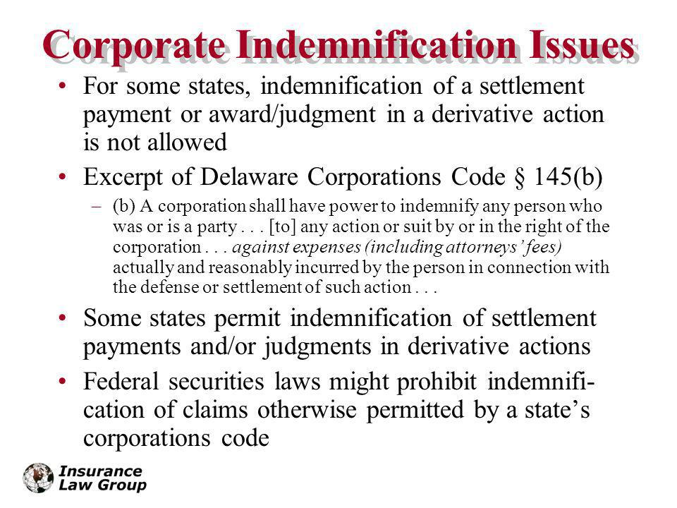 Corporate Indemnification Issues