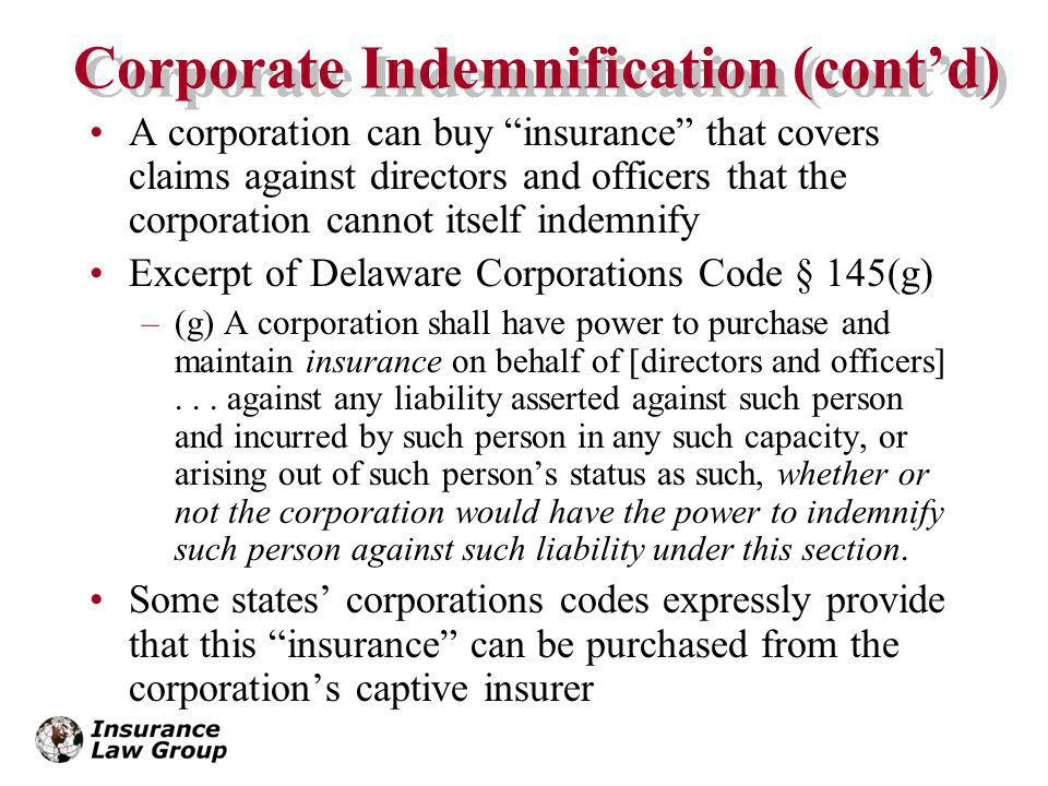 Corporate Indemnification (cont'd)