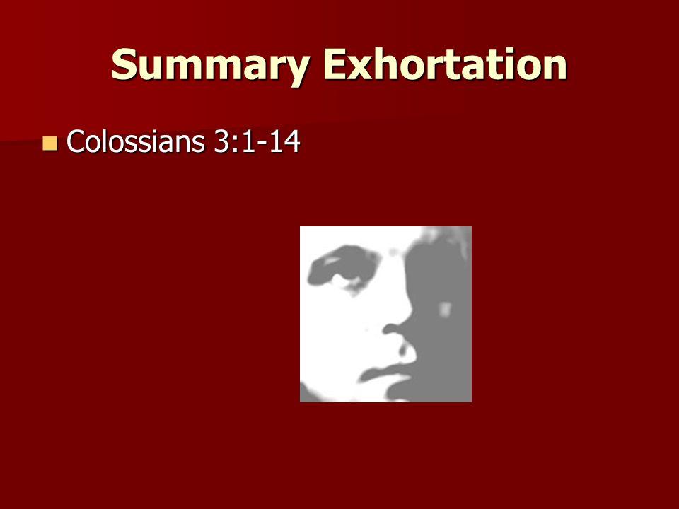 Summary Exhortation Colossians 3:1-14