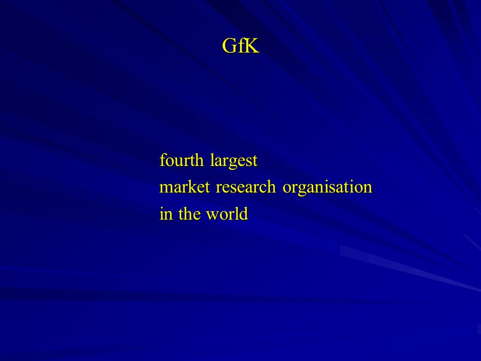 GfK fourth largest market research organisation in the world