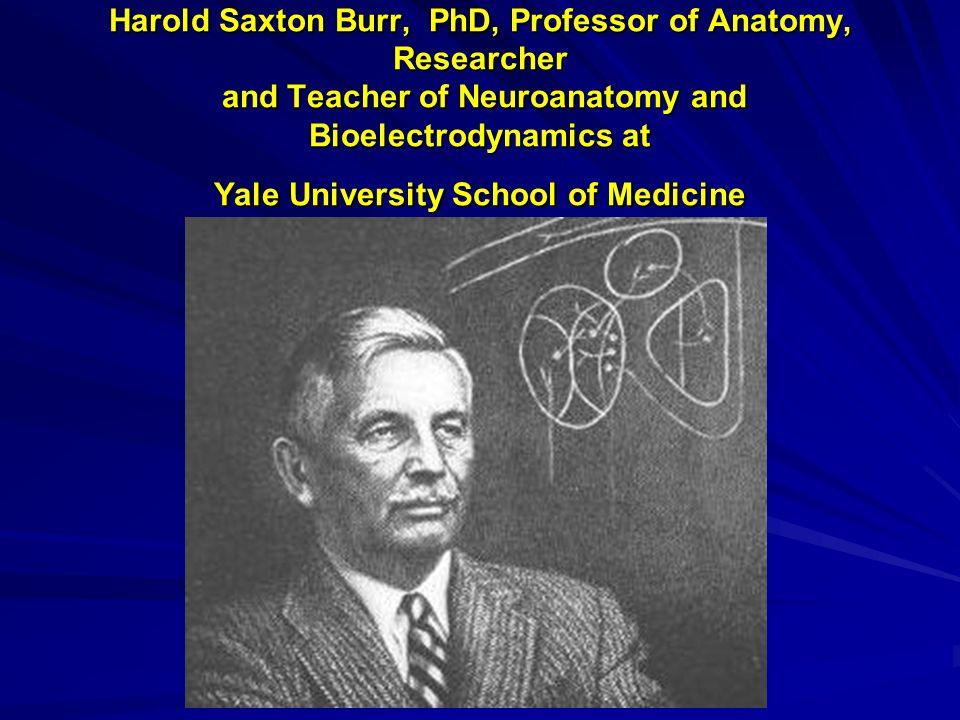 Harold Saxton Burr, PhD, Professor of Anatomy, Researcher and Teacher of Neuroanatomy and Bioelectrodynamics at Yale University School of Medicine