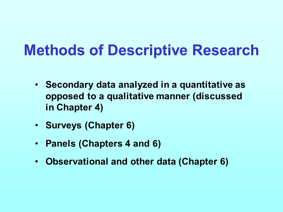 descriptive research methods Research methods in psychology: homework help resource descriptive research is a study designed to depict the participants in an accurate way.