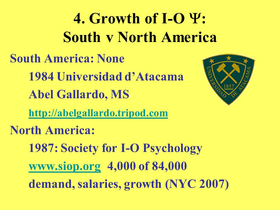 4. Growth of I-O Y: South v North America