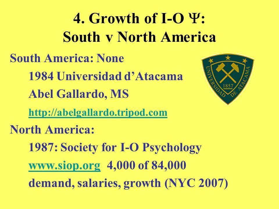 4. Growth of I-O Y: South v North America