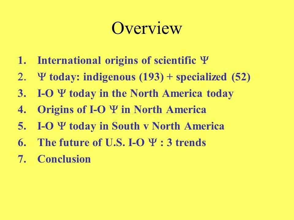 Overview International origins of scientific Y