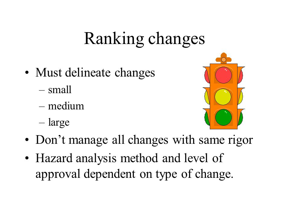 Ranking changes Must delineate changes