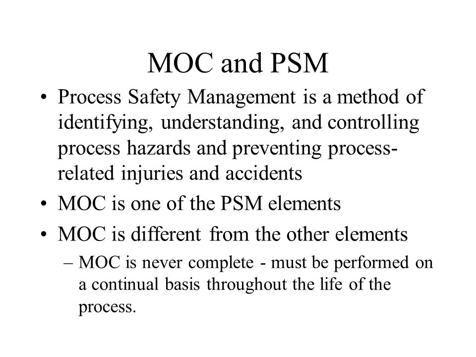 MOC and PSM