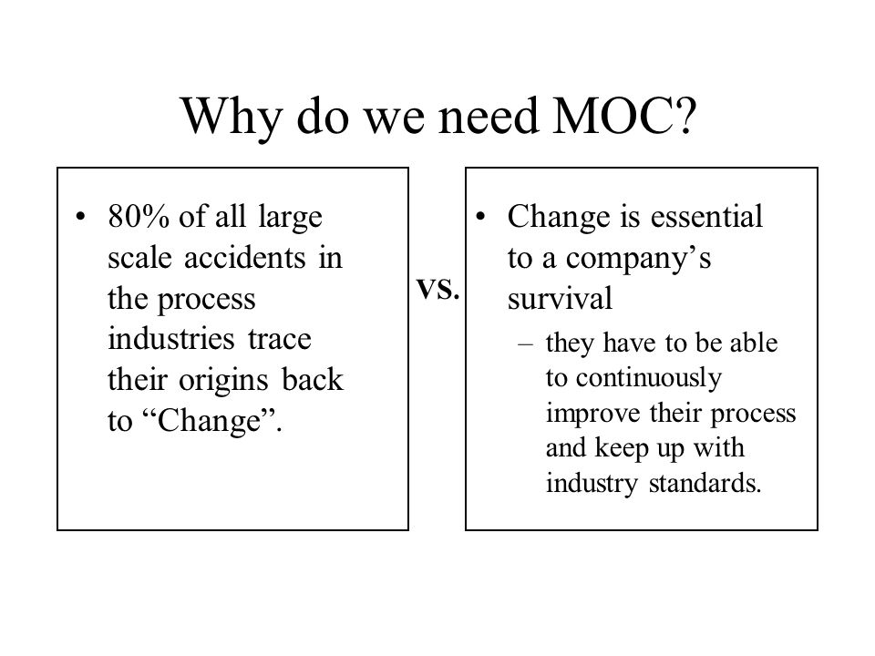 Why do we need MOC 80% of all large scale accidents in the process industries trace their origins back to Change .