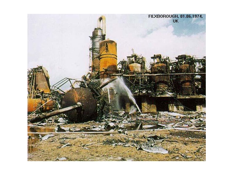 The above photograph, illustrates the devastation caused by the Flixborough explosion.