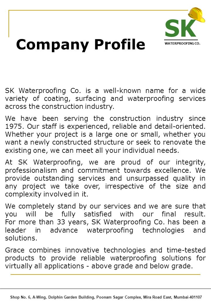 SK WATERPROOFING CO. Company Profile.
