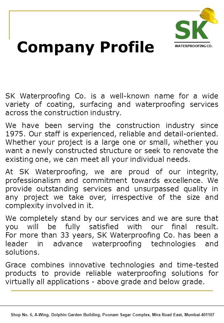 SK WATERPROOFING CO. Company Profile.