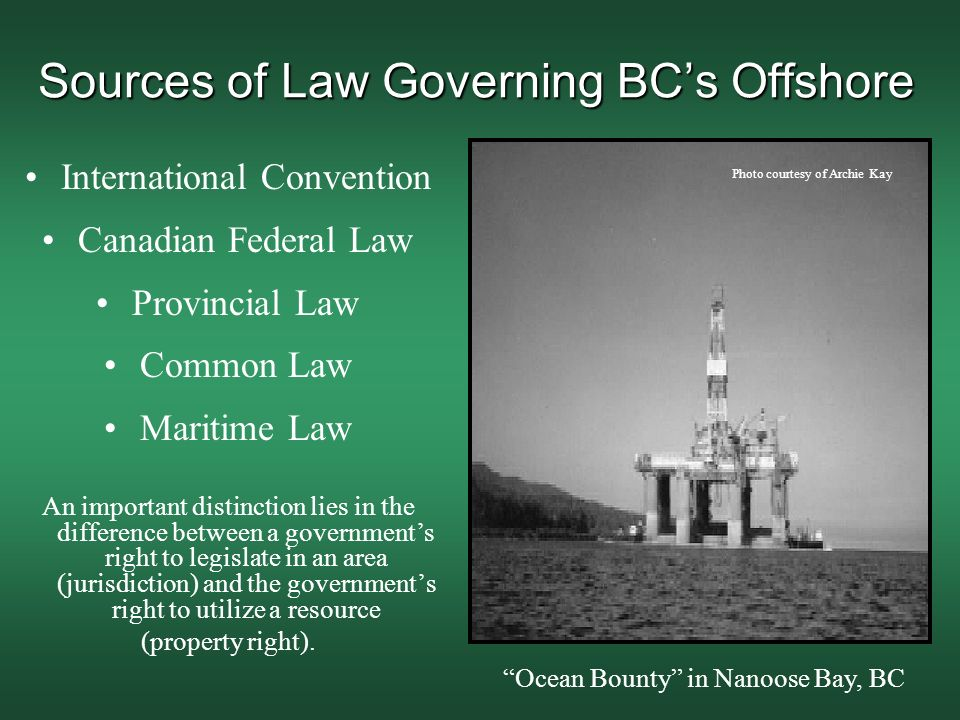 Sources of Law Governing BC's Offshore