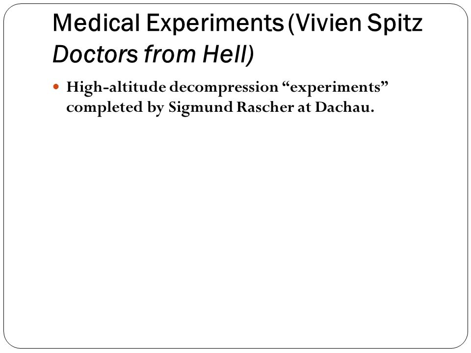 Medical Experiments (Vivien Spitz Doctors from Hell)